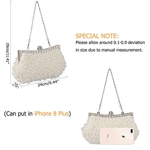 Chain Baglamor Pearl Evening Party Wedding Bag Clutch Bag Dating 1 Fashion fit Purse Women White Rhinestone tqTwxrA4q
