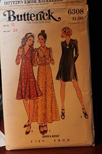 Uncut Dress Butterick Vintage Pattern - Vintage Butterick Pattern 6308 Size 12 Bust 34 - Junior & Misses' Dress (uncut pattern)
