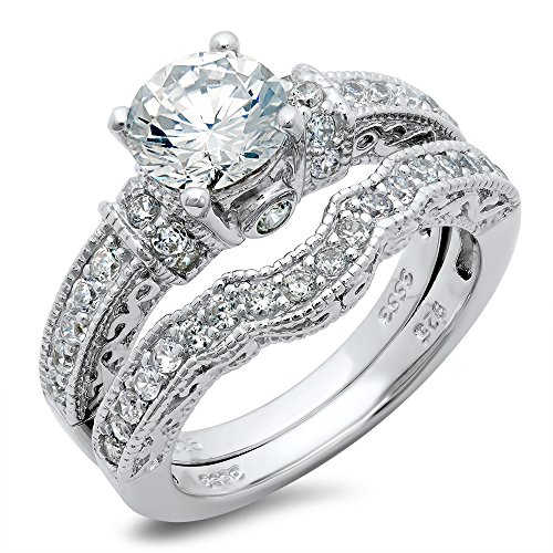 Amazon.com: Sterling Silver Cubic Zirconia CZ Wedding Engagement Ring Set:  Jewelry