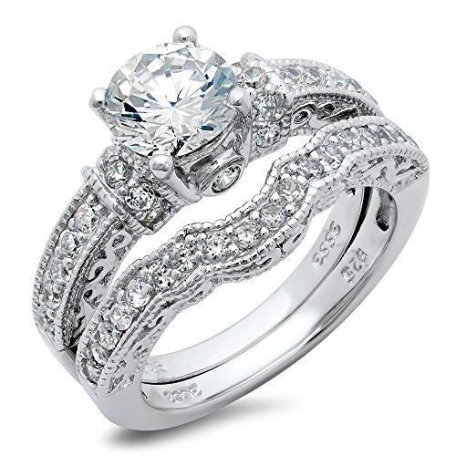 amazoncom sterling silver cubic zirconia cz wedding engagement ring set jewelry - Cubic Zirconia Wedding Ring Sets
