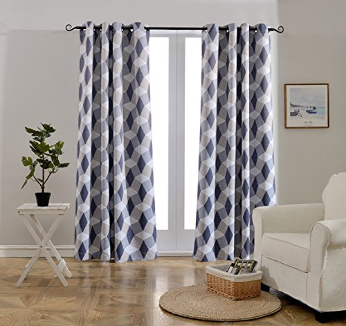 Mysky Home 3D Geometry Fashion Design Print Thermal Insulated Blackout Curtain with Grommet Top for Bedroom, 52 by 84 inch, Blue - 1 Panel - Sliding Door China