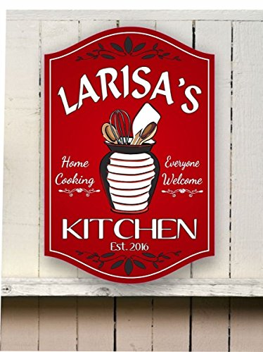 Classic Personalized Kitchen Sign with Utensil Holder, Whisk, Wooden Spoons & Spatula, Custom Name Sign - Fun Sign Factory
