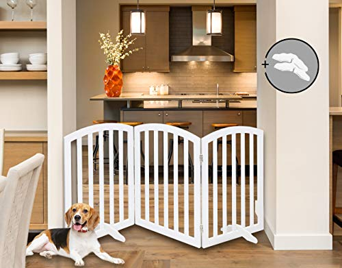 (Arf Pets Free Standing Wood Dog Gate, Expands Up to 74