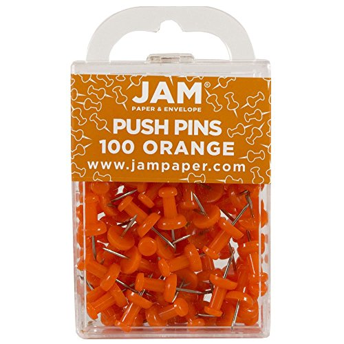 JAM Paper Push Pins - Orange PushPins - 100/Pack