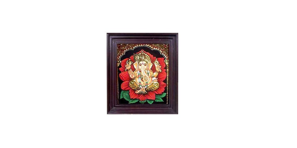 Tanjore Paintings - Flower Ganesha