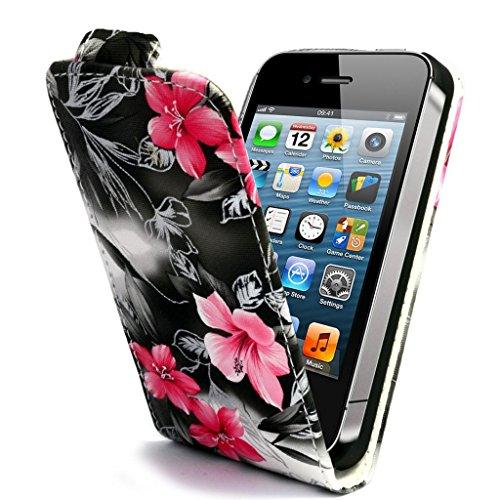 Mobile Case Mate Apple iPhone 5 5s Premium PU Cuir chiquenaude coque Affaire Couverture Case Cover Pochette Pare-chocs - Rose Argent Fleur Design avec Stylet