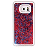 Galaxy S6 Edge Plus Case, Weline Flowing Liquid Floating Luxury Bling Glitter Sparkle Cover with Love Heart Powder, Clear Double Layer Hard Plastic Skin for Samsung Galaxy S6 Edge Plus- Red