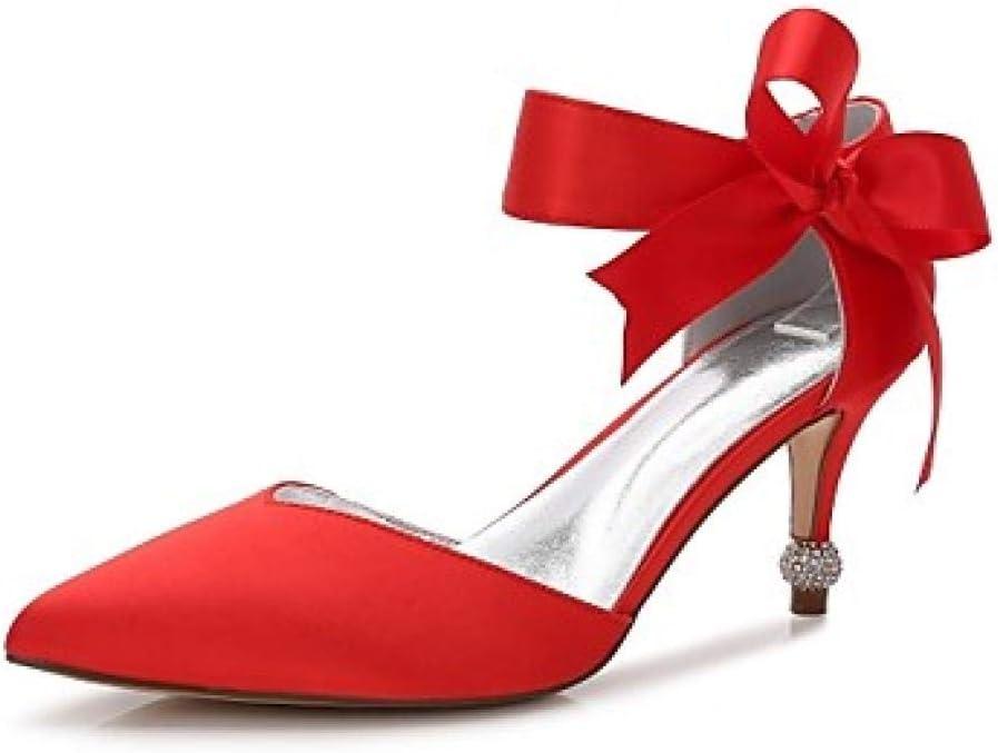 BIUU Dames Bruiloft Schoenen Kitten Hak/Coon Hak/Lage Hakken Gepunte teen Strikknop/Satijn Bloem/Vetersluiting Satijn Comfort Lente/Zomer Red, US9.5 -10 /EU41 /UK7.5 -8 /CN42