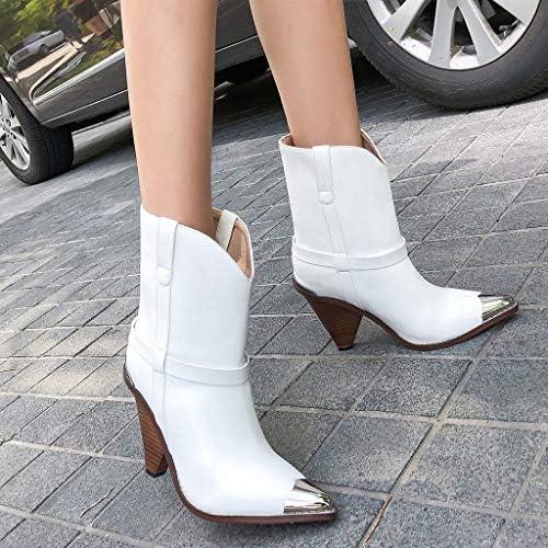 MSSugar Bottes pour Dames Cone Heel Toe Toe Bottines Bottes d\'automne et d\'hiver Vintage Casual Walking Shoes,White,44