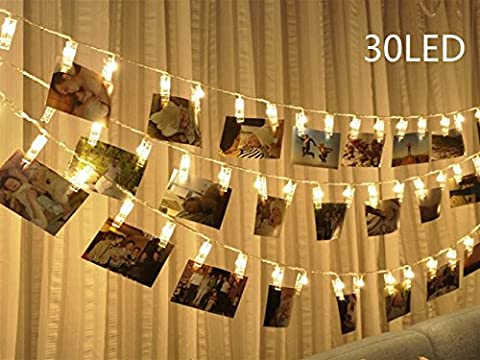 30LED USB Powered LED Photo Clip String lights,Photo String Lights for Home/Weding /Party Decor-Perfect for Hanging Picture, Warm - 30 White Clips