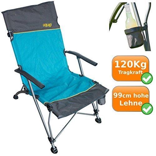 Faltbarer, komfortabler Campingstuhl im Lounge-Charakter, extra hohe Rückenlehne, ideal fürs Camping, bei Outdooraktivitäten, als Angelstuhl oder für die Festivalsaison, 120Kg Traglast, blau-silber