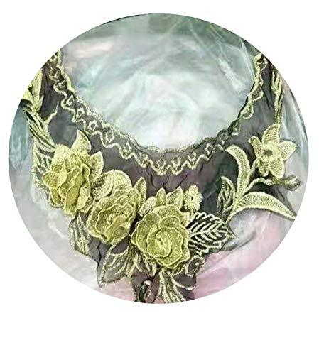 1Pc Gold Color Lace Fabric Dress Applique Motif Blouse Sewing Trims DIY Neckline Collar Costume Decoration Accessories,Gold 66