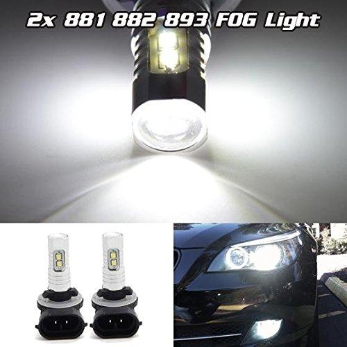 Partsam 2Pcs White Samsung 2323 SMD 881 899 893 LED Bulbs Fog/Driving lights Lamp 10W 6000K (2004 Lexus Es330 Fog Lights compare prices)