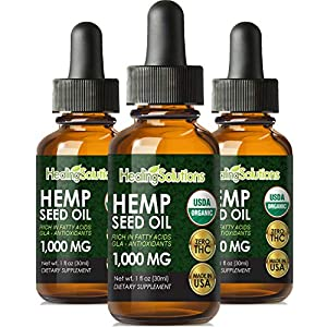 Premium Hemp Oil Extract for Pain Relief, Stress, Keto, Anxiety, Sleep 1000MG (3 Pack)