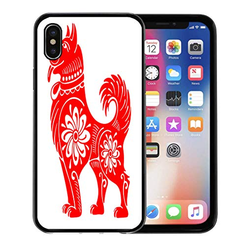 Semtomn Phone Case for Apple iPhone Xs case,Red Lunar Dog Chinese Zodiac Symbol of Year Happy Cut Oriental Sign for iPhone X Case,Rubber Border Protective Case,Black