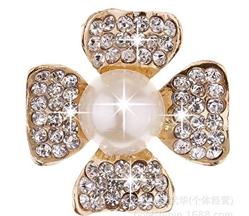 Maslin DIY Accessories Flat Back Button Four Petals Rhinestone Button,Flower Center Button Scrapbooking Invitation Card Pearl Buttons