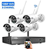 Hiseeu Security Camera System Wireless,[8CH Expandable 1080P NVR]4Pcs 1080P 2.0MP Outdoor/ Indoor WiFi Surveillance Cameras with Night Vision, Weatherproof, Motion Detection, Remote Monitoring, No HDD