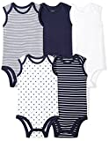Moon and Back Baby Set of 5 Organic Sleeveless Bodysuits, Navy Sea, 3-6 Months