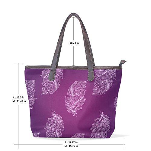 A M Borse Dell'unità Hand Spalla Tote Modello Muticolour Drawn Bag Delle Dimensioni Grandi Cm Coosun Elaborazione Del Viola 40x29x9 Maniglia Di Cuoio Della Piume axnwSOd7