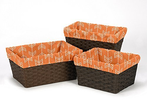 Sweet Jojo Designs 3-Piece Fits Most Basket Liners for Orange and Navy Arrow Bedding Sets
