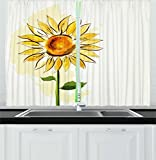 Large Kitchen Window Curtains Flower Kitchen Curtains by Ambesonne, Summer Sunflower in Watercolor Soft Pastel Toned Large Petals Artwork, Window Drapes 2 Panels Set for Kitchen Cafe, 55W X 39L Inches, Fern Green Earth Yellow
