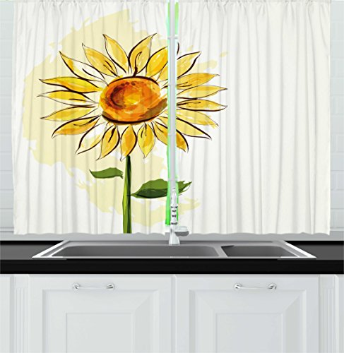 Ambesonne Flower Kitchen Curtains by, Summer Sunflower in Watercolor Soft Pastel Toned Large Petals Artwork, Window Drapes 2 Panels Set for Kitchen Cafe, 55W X 39L Inches, Fern Green Earth Yellow