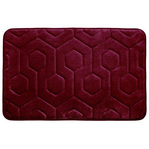 "Bounce Comfort Hexagon Memory Foam Bath Mat, 20 by 34"", Barn Red -  Creative Home Ideas, YMB004341"