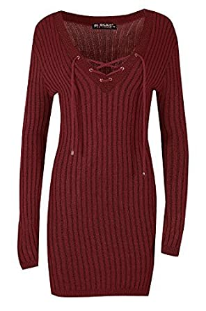fe845a0065c4 Womens Ladies Ribbed Knitted Lace Up V Neck Long Sleeve Bodycon Mini Dress   Amazon.co.uk  Clothing