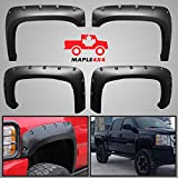 Maple4x4 2007 - 2013 Chevy Silverado 1500/2500/3500 Reg-Long Box Fender Flares --- Smooth Black Paintable Pocket Style 4pc Kit w/ Installation Hardware and Instructions