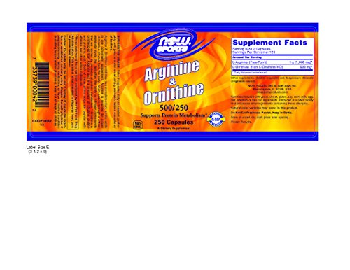 Now Foods Arginine & Ornithine 500/250mg - 250 Caps 12 Pack by Now Foods (Image #1)