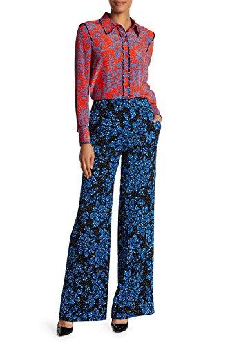Diane von Furstenberg Dvf Wide Leg Size 0 Trouser Pant! Cute Floral Callow Silk Print! Perfect Fashionista Gift! -