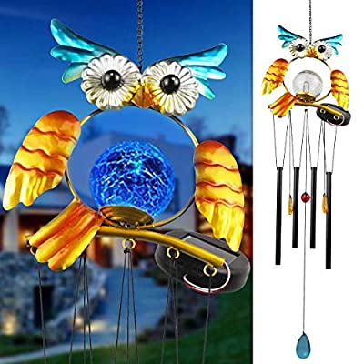 """Solar Owl Wind Chimes Outdoor 36"""" LED Light Chime with 4 Hollow Aluminium Tubes for Home,Patio, Lawn and Yard Decor"""