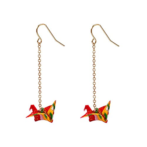 Handmade Creative Paper Crane Origami Women's Earrings 1PC (2PCS Red)
