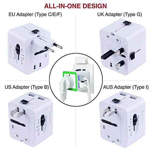 Travel Adapter,Rdxone International Power Plug Converter for Europe, Italy, Ireland, UK, AU, Asia, Over 150 Countries,with 2 USB -1500 Watts Worldwide Plug Adapter
