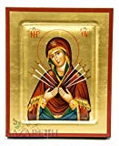 Virgin Mary of Seven Swords Byzantine Wood Icon Handmade Christian Plaque 6.7''
