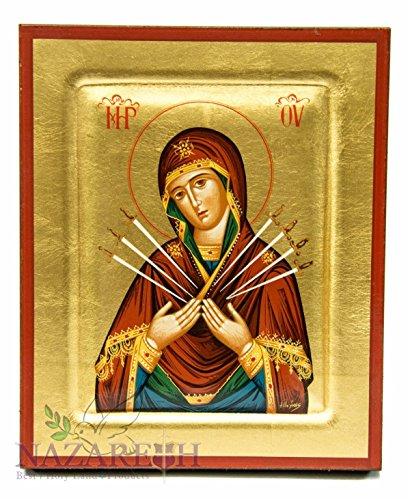 Virgin Mary of Seven Swords Byzantine Wood Icon Handmade Christian Plaque 6.7'' by Holy Land Gifts