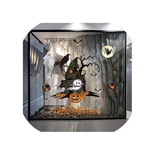 Halloween Wall Sticker Pumpkin Witch Window Living Room Classroom Removable Wall Stickers Decal Home Decoration,Multicolor C,U