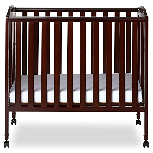 Dream On Me 3 in 1 Portable Folding Stationary Side Crib, Espresso 1 Drop Side Convertible Crib