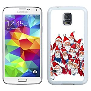 Easy use Cell Phone Case Design with Lots Of Santas Christmas Illustration Galaxy S5 Wallpaper in White