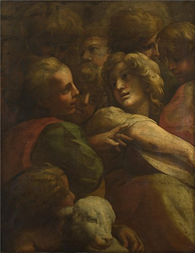 high quality polyster Canvas ,the High Resolution Art Decorative Prints on Canvas of oil painting 'After Correggio Group of Heads (1) ', 8 x 10 inch / 20 x 26 cm is best for Bar artwork and Home decor and Gifts