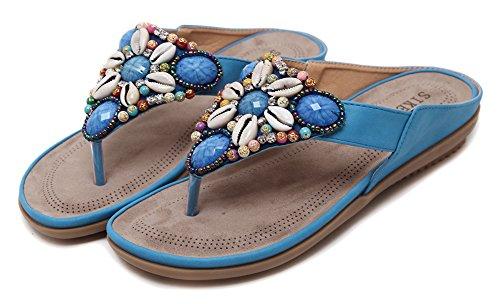 Agowoo Womens Pärlstav Promenader Strand Rem Sandaler Flip Flops Blue
