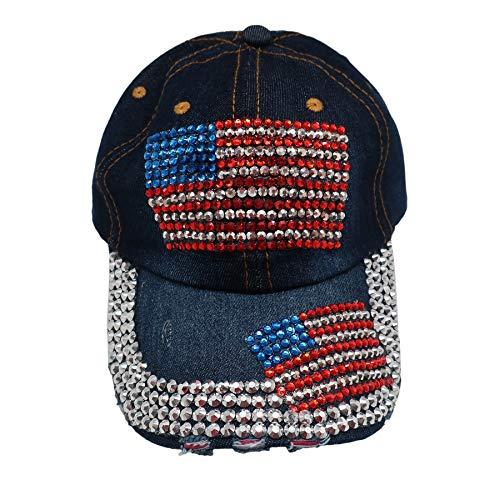 (Forest & Twelfth Fashion Bling Baseball Cap Hat - Embellished w/Crystal Rhinestones and Faux Gemstones (2 USA Flag))