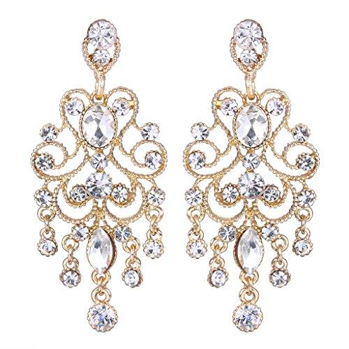 [JoinMe Women's Vintaged Style Bridal Crystal Drop Chandelier Filigree Dangle Earrings Gold-tone] (Elegant Bride Costumes)