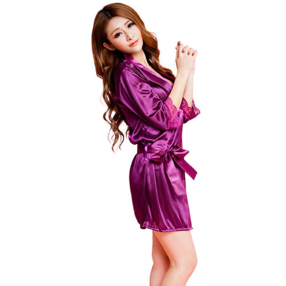 VJGOAL Mujeres Moda Sexy Albornoz Clásico Puro Hielo de Seda Falda Larga Albornoz camisón Ropa Interior erótica Tentación Salvaje(Un tamaño, ...