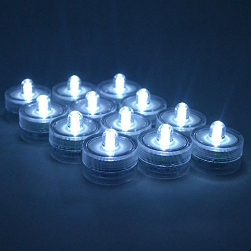 Samyo Set of 36 Waterproof Wedding Submersible Battery LED Tea Lights Underwater Sub Lights Wedding Centerpieces Party Decorate White
