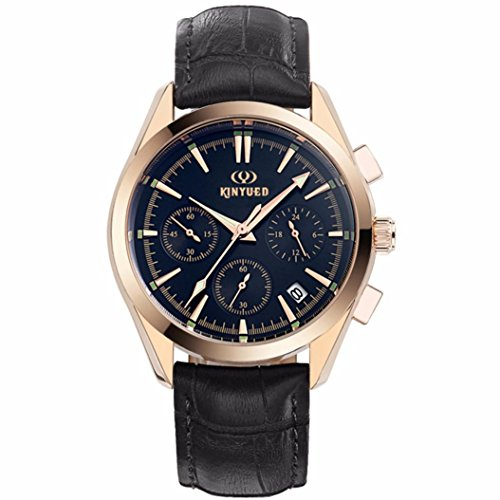KINYUED Men's Luxury Analog Quartz Chronograph Leather Wrist Watch - Uts Watches Men