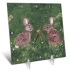 3dRose CherylsArt Wild Animals Rabbits - Painting of Two Wild Rabbits Sitting in The Grass - 6x6 Desk Clock (dc_317735_1)