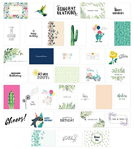 Cavepop All Occasion Greeting Cards Assortment, Any Occasion Thank You, Birthday and Sympathy Cards with Envelopes - 4 x 6 Inches - 36 Pack (36 Designs)