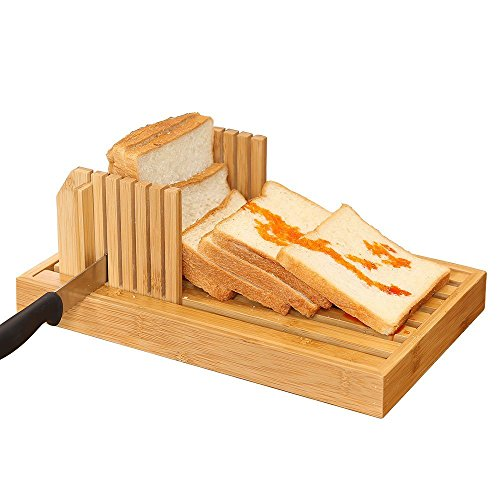 Bamboo Manual Adjustable Foldable Bread Machine Bread Slicer For Homemade Bread With Crumb Catcher Tray AND Eliminating The Generation Of Wood Chips By (Home Bread Tray)