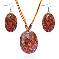 Voberry Women Fashion Beach Bohemia Shell Pendant Chain Rope Tassel Necklace Earrings Jewelry Set (H)